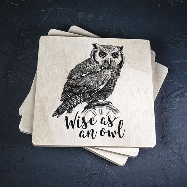 """Balts krūžu paliktnis ar melnu pūces zīmējumu un tekstu: """"Wise as an owl"""""""