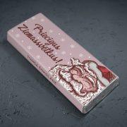 mazā tumšā šokolāde astoņpadsmit grami ar salaveci un tekstu priecīgus ziemassvētkus