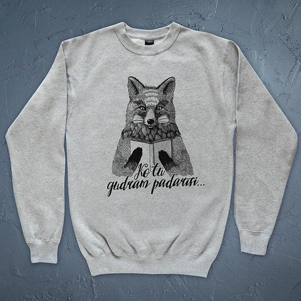 """Džemperis ar lapsas zīmējumu un tekstu: """"Ko tu gudram padarīsi..."""""""