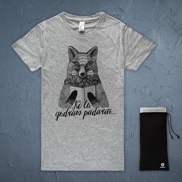"""Pelēks sieviešu t-krekls ar melnu lapsas zīmējum un tekstu """"Ko tu gudram padarīsi..."""""""