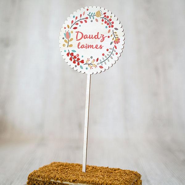 """Dekoratīvs kūku dekors ar krāsainu tekstu: """"Daudz laimes"""""""