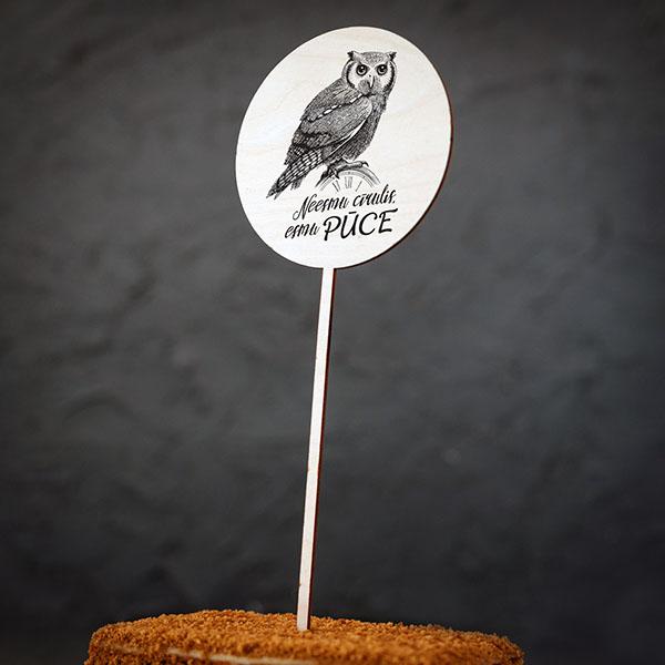 """Dekoratīvs kūku dekors ar pūces zīmējumu un tekstu: """"Neesmu cīrulis, esmu PŪCE"""""""