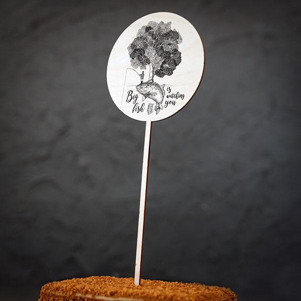 """Dekoratīvs kūku dekors ar zivs zīmējumu un tekstu: """"Big fish is watching you"""""""