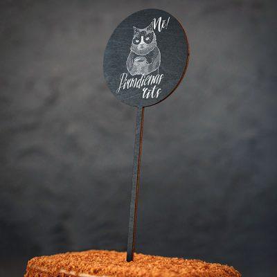"""Dekoratīvs kūku dekors ar kaķa zīmējumu un tekstu: """"Nē! Pirmdienas rīts"""""""