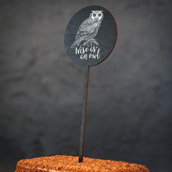 """Dekoratīvs kūku dekors ar pūces zīmējumu un tekstu: """"Wise as an owl"""""""