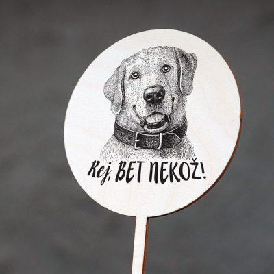 """Dekoratīvs kūku dekors ar suņa zīmējumu un tekstu: """"Rej, bet nekož!"""""""