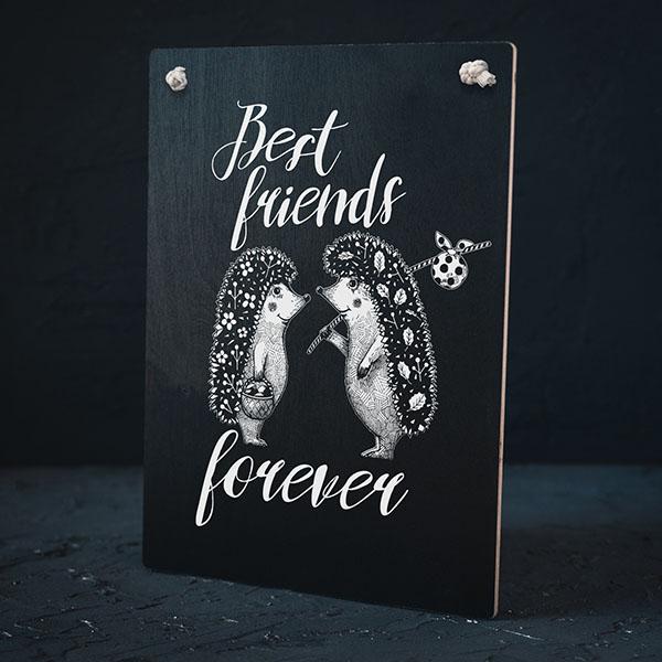 """Melns dekoratīvais koka dēlītis ar baltu divu ežu zīmējumu un tekstu: """"Best friends forever"""""""