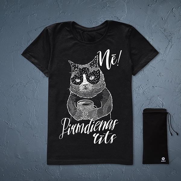 """Melns sieviešu t-krekls ar baltu kaķa zīmējumu un tekstu: """"Nē! Pirmdienas rīts"""""""