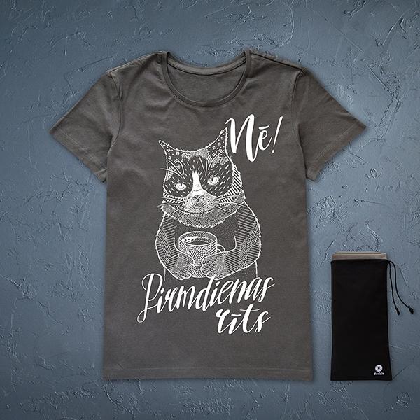 """Tumši pelēks sieviešu t-krekls ar baltu kaķa zīmējumu un tekstu: """"Nē! Pirmdienas rīts"""""""