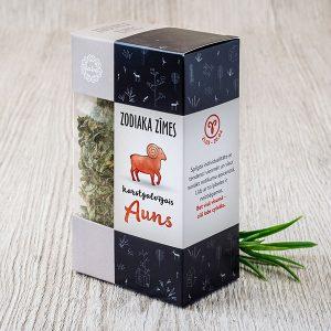 """Ģimenes tēja krāsainā horoskopu kastītē ar tekstu: """"Auns"""""""
