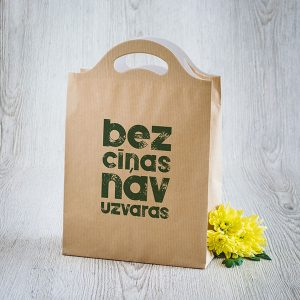 """Dāvanu maisiņš ar tekstu: """"Bez cīņas nav uzvaras"""""""