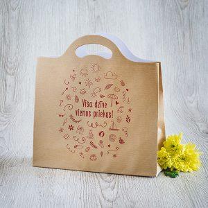 """Dāvanu maisiņš ar tekstu: """"Visa dzīve vienos priekos!"""""""