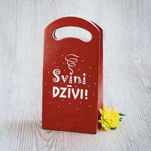 """Dāvanu maisiņš ar tekstu: """"Svini dzīvi"""""""