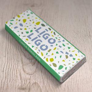 """Mazā šokolāde ar krāsainu apdruku un tekstu: """"Līgo līgo"""""""