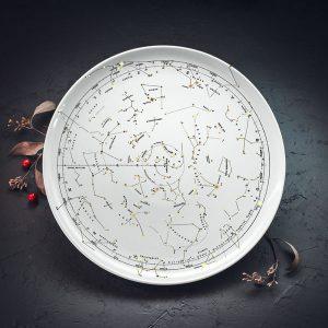 Lielais šķīvis ar melnu Zvaigznāja zīmējumu un zelta elementu