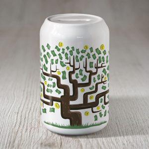 Daba krājkase naudas koks ar zaļām lapām