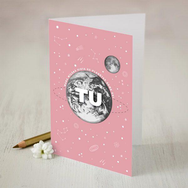 DABA kartīte rozā fons un melēka planēta