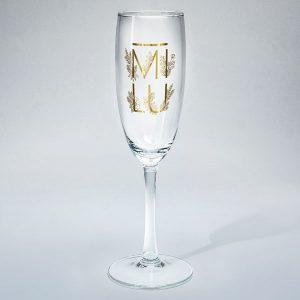 Dadzis šampanieša glāze ar uzrakstu mīlu zelta krāsā