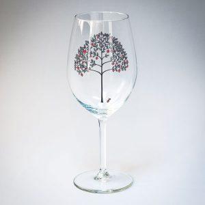 Dadzis vīna glāze ar ābeles zīmējumu melnā un sarkanā krāsā