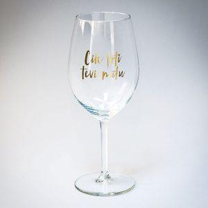 Dadzis vīna glāze ar uzrakstu cik ļoti tevi mīlu