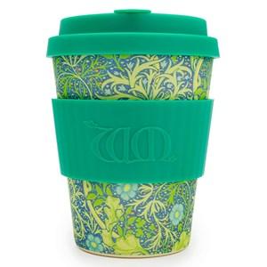 Ecoffee bambusa krūze zaļā krāsā ar uzmavu