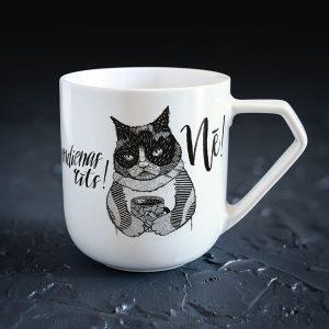 Dadzis krūze ar kaķi un uzrakstu pirmdienas rīts nē