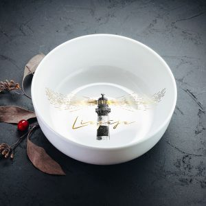 Dadzis bļoda balta ar melnu un zelta apdruku bākas attēls
