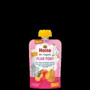 """Holle, BIO bumbieru, persiku un aveņu biezenis ar plēkšņu kviešiem """"Pear Pony"""" no 8 mēn, 100g"""