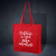 kokvilnas auduma soma sarkanā krāsā ar attēlotu tekstu atslābsti tu tāpat neko nekontrolē