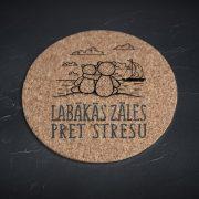 Korķa paliktnis, mazais, ar attēlotiem diviem lācīšiem, kas ir apskāvušies un tekstu - Labākās zāles pret stresu
